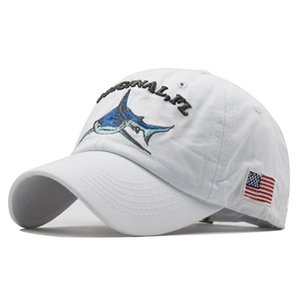 2020 fashion trend cartoon washed embroidered shark spring and summer baseball cap