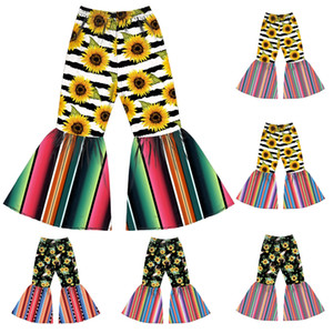 6 styles Girl Flared pants kids Sunflower Printed Bell-bottom Trousers Baby Elastic Belt trousers Toddler Floral Casual Pants JJ465