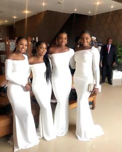 Sur africano elegante fuera del hombro blanco sirena dama de honor vestidos de la dama de honor negro longitud de la longitud de la longitud de las mangas largas de la dama de los vestidos de honor más tamaño