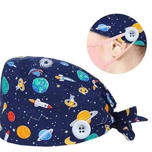 Cotton Beanie hat cartoon Printed Scrub Cap Adjustable with button for face mask hook buckle women kitchen Party hat LJJA4121