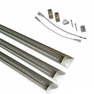 SMD 2835 T8 V em forma de tubo de LED Integrado Dupla Linha de luz Bar 1ft 2ft 3ft 4ft 5ft 6ft 8ft 85-265 V Levou Tubos de Fixação