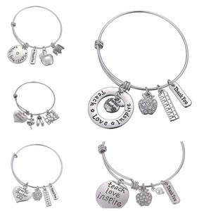 Letters Bracelet Teacher's Day Gift Charms Bangle Love Inspire Teach Bracelets Charm pendant Teacher Jewelry Party Favor GGA2004