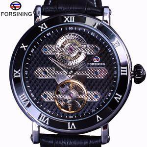 Orologio Meccanico Orologio automatico Forsining Tourbillion Obscure Designer impermeabile Genuine Leather Mens Watch Top Brand di lusso
