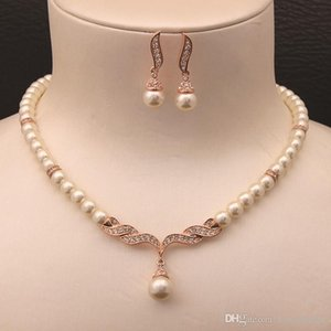 Rose Gold Color Cream Glass Pearl and Rhinestone Crystal Bridal Necklace and Earrings Jewelry Sets