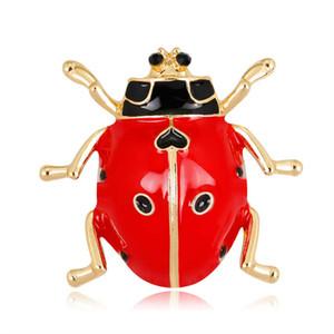 Red Ladybug Broches do esmalte Pin para mulheres Vestuário Scarf saco preto elegante Joaninha espeto pequeno Bijuterias Atacado Estilo Europeu