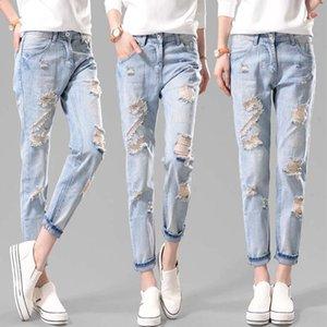 Plus Size Elastic Waist Hemming Boyfriend Loose Ripped Denim Harem Jeans Light Blue Girl'S Casual Pants For Women