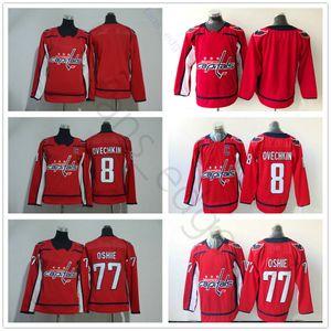 Nuevo Mejor Washington Capitals hockey sobre hielo Jerseys 77 T. J. OSHIE 8 Alex Ovechkin blanco roja Hombres Mujeres Niños Jerse Juvenil