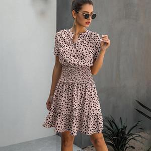 Gizmosy 드레스 여성 레오파드 캐주얼 여름 프릴 미니 드레스 버튼 여성 퍼플 웨이스트 장착 의류 2020 여성 의류