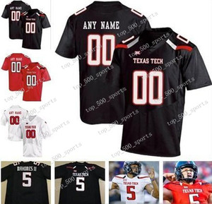 Custom Texas Tech Ttu 2020 Collège Football Numéro Numéro Black Red White 10 Alan Bowman Mahomes Mayfield Welker Hommes Kid Jersey