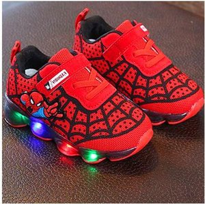 davidyue Spiderman Kids Boys Sneakers sportive Bambini Glowing Kids Shoe Chaussure Enfant Girls Scarpa con luce a LED