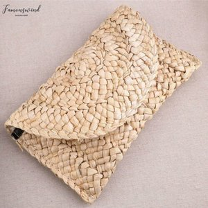 2020 New Fashion Lady Women Summer Lovely Straw Knitted Handbag For Key Money Beach Long Bag Clutch