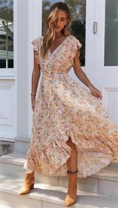 2020 Yaz Elbise Kadın Tasarımcı Bohemian Elbise Kadın Flora Baskılı Tatil Elbiseler