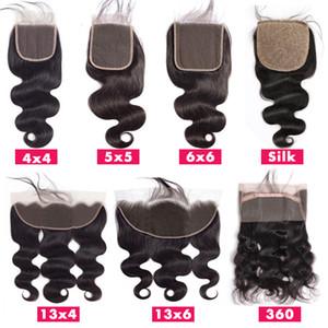Cierre la tapa del cordón frontal suizo pieza del pelo del cordón de Brasil la onda del cuerpo del cabello humano Cierre Glamorous 4x4 5x5 6x6 13x4 13x6 360