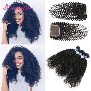 Brazilian Virgin Hair unprocessed kinky curly hair with closure afro kinky curly brazillian hair with closure