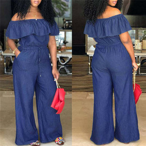 Mavi fırfır Foldover Geniş Bacak Tulum Kadınlar Katı Kapalı Omuz Casual Tulumlar