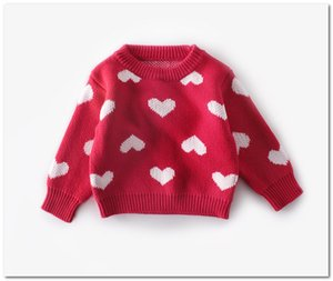 Baby kids sweater girls love heart pattern knitted pullover valentine's day toddler kids clothes 2020 spring new girls jumper J2779