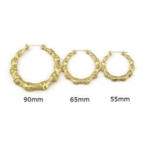 hip hop bambou créole boucles d'oreilles pour les femmes western vente chaude simple boucle d'oreille huggie bijoux de mode exagérée 90mm 65mm 55mm or rose gold