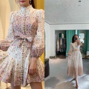 2020 ZIM последний стенд воротник напечатаны фонарь рукава белье талии кружевном платье