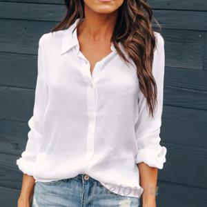 Женщины офис рубашки лето Elegant Formal рабочая одежда с длинным рукавом Тонкий Блуза Tops Solid Color V вырезом