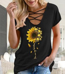 Womens Camiseta Cruz oco Out Moda Ladies Tops Casual solta confortáveis, todos Jogo Roupa Crânio girassol impressão