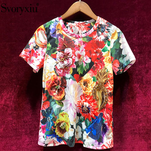 Svoryxiu Women's Summer Flower Print Cotton Short Sleeve T Shirts Manual Diamond Casual Plus Size Runway Tops Tees Female T5190615