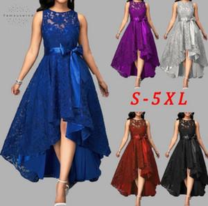 5 colores del partido del vestido más el tamaño de 5Xl partido de las mujeres de alta Joineles encaje bajo irregular mujeres se visten de cuello redondo Vestidos Cinturones