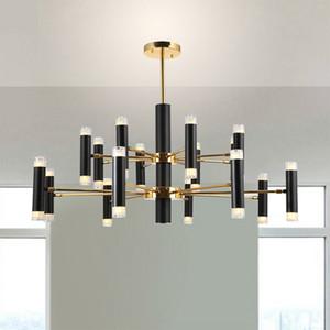 Minimalismo nórdico Metal giratorio Led araña para sala de estar Negro oro Lustre G9 Led colgante araña iluminación interior
