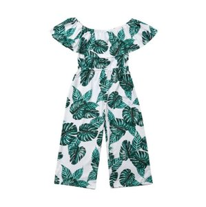 Tout-petit Enfant Bébé Fille d'été vêtements-épaule impression feuille enfant fleur verte Jumpsuit Tenues Salopette