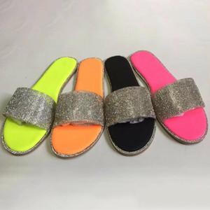 Women Glitter Diamond Flat Sandals Summer Shoes Beach Slippers Flip-flops Non-slip H9