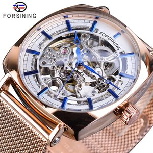 Forsining or rose mécanique hommes Wristwatch Creative place en acier de maille d'affaires Transparent Sports Band automatique Montres cadeau