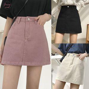 Fashion Skirts Womens New Denim Skirt Summer Lady Leisure Pure Color High Waist Skirt Hot Sale 2020 Guahao