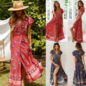 Kadınlar Çiçek Giyim Kısa Kollu Vintage Boho Maxi Uzun Bölünmüş Elbise Elbise