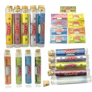 dankwoods Vider prélecture Joint Emballage Tube en verre avec des autocollants en bois liège verre borosilicate Dankwoods Pre Rolls E Cigarettes vapeur Tubes