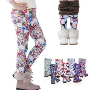 Outono Inverno Crianças Meninas Legging Bebê Algodão Calças Lápis Quentes Childrens Flor Impresso Espessamento Calças de Veludo leggings GGA2649