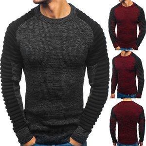 Mens pulôver em torno do pescoço Raglan camisola Designer plissadas Cor Lazer Stripe Moda manter quente roupa dos homens