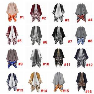 Cachecol Mulheres Cardigan 130 * 150 centímetros Houndstooth Poncho Cape Primavera Outono Quente Blanket Manto Pashmina Xaile Scarf outwear LJJA3319-14 Brasão