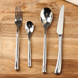 ضوء القمر أواني الطعام مجموعة الفولاذ المقاوم للصدأ سكين عشاء شوكة وحساء القهوة الآيس كريم ملعقة صغيرة ملعقة أدوات المائدة 20 مجموعات EEA324