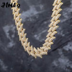 Jinao nuovo fuori ghiacciato 16 millimetri Miami Chiusura Box cubana catena forma pesante Spike collana cubico zircone Bling Hip hop per Men Jewelry