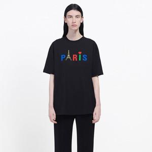 Calle 20SS la torre Eiffel de la camiseta impresa manera simple sólido de manga corta ocasional del verano te floja de Hip Hop Hombres Mujeres HFHLTX048