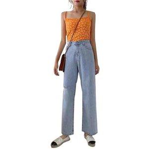 NORMOV autunno vita alta jeans diritti delle donne Vintage allentato sbiancato gamba larga pantaloni oversize jeans femminile Hole casuale