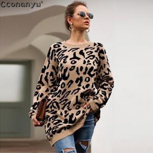 Otoño damas de ropa de invierno de moda para mujer suéter largo jerséis y suéteres flojos del estampado leopardo de las mujeres suéter de punto