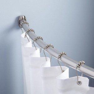 Home Bathroom Accessories 12pcs Practical Curtain Hooks Stainless Steel Bath Rollerball Shower Curtain Hooks Glide Rings Hooks DH0909