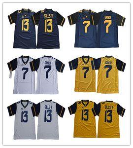 NCAA-Männer 7 Will Grier 13 David Sills V West Virginia Bergsteiger WVU Blank Weiß Blau Gelb Genähte XII College-Fußballtrikots