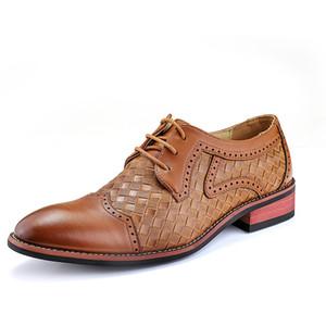 2021 sapatos novos negócios tecelagem genuína qualidade do couro Inglaterra Estilo Handmade oxford sapatos Men Primavera boi esculpidas