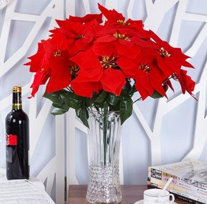 5 Forks 50cm High Christmas Artificial Simulation Silk Poinsettia Red Silk Decorative Christmas Flowers Home Xmas Party Supplies SN88