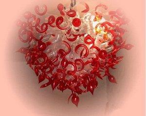 Top Tasarım Kırmızı ve Şeffaf Livingroom Dekor için Murano Cam Avize En Popüler Art Glass Özel Lambalar Üflemeli