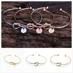 26 Letter Rose Gold Silver Gold Color Knot Heart Bracelet Bangle Girl Fashion Jewelry Zinc Alloy Round Pendant Chain & Link Brace