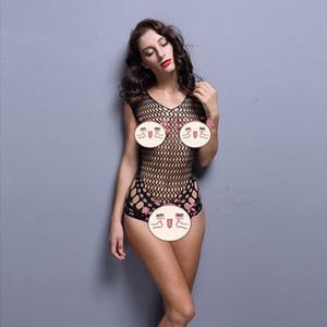 Fashion sexy Bodysuit Underwear European and American backless sexy tight mesh sexy temptation transparent lingerie