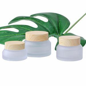 Geada de vidro frasco plástico Tampa frascos de vidro vazio Creme Jar Cosmetic Packaging Container 15G 30G 50G
