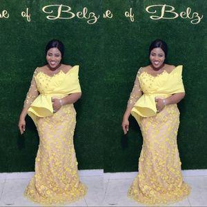 Africano Plus Size Yellow Prom Dresses merletto della sirena rilievo maniche lunghe Vintage convenzionali del partito di sera Pageant abiti